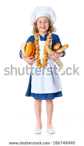 Little Cook With Bread and Bagels. Isolated on white background.
