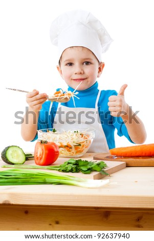Little cooker with salad and thumb up sign, isolated on white