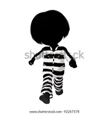 Little criminal girl on a white background