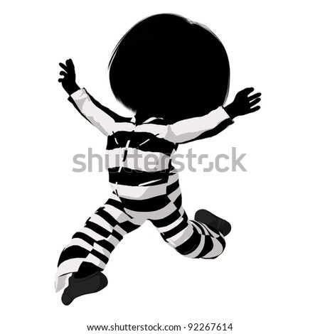 Little criminal girl on a white background