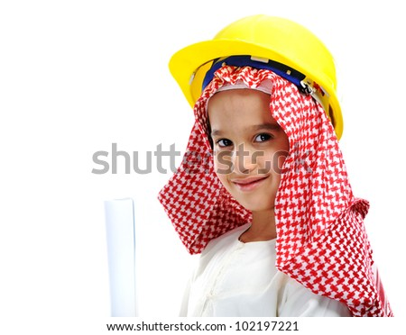 Little cute Arabic child engineer