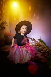 Little cute blonde girl looking as witch in special dress and hat in room decorated for Halloween. Witchcraft and wizardry in carnival. Halloween style photo shoot