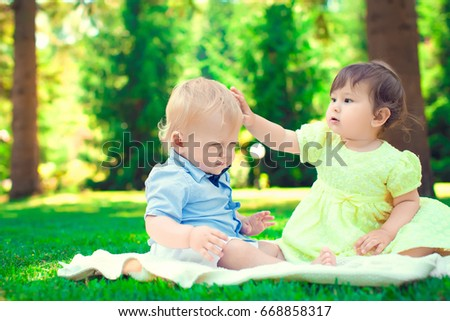 908f3e56bc8d9d Brother and sister - twins babies girl and boy on pink and blue ...
