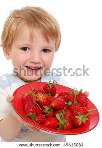 Little Cute Boy Show Strawberries On A White Background Stock Photo ...