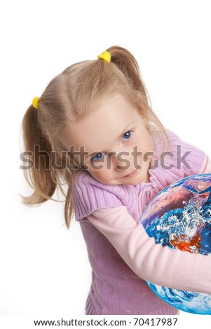 little cute caucasian blond girl symbolizing Earth care and protection, isolated over white background - stock photo