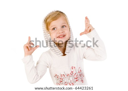 Little cute girl crossing fingers isolated on white background