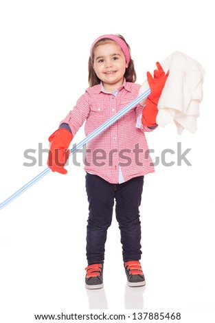 little cute girl is ready for spring cleaning.isolated on white background