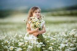 Little cute girl with bouquet of camomile flowers