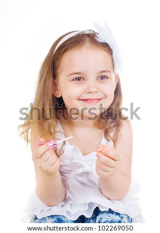 little cute girl with lipstick on white background