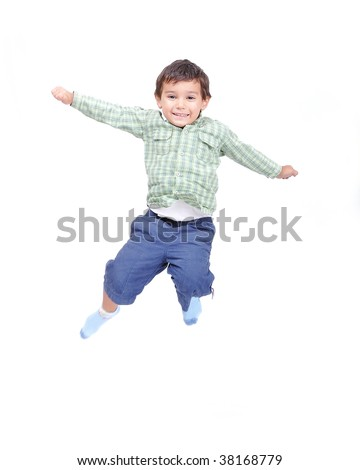 Little cute kid jumping isolated