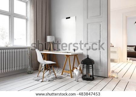 Little desk and chair in residential loft with large lamp on floor and radiators beside windows. 3d Rendering.