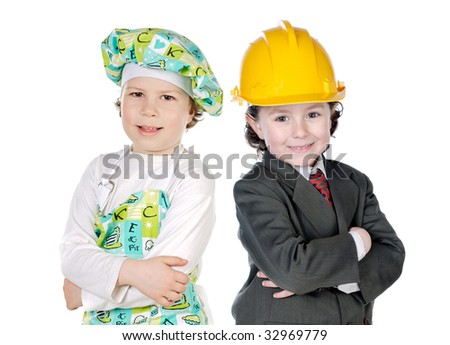 Little doctor and architect on a over white background