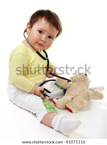 Little doctor with toy