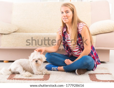 Little dog maltese laying with his owner on the floor in home