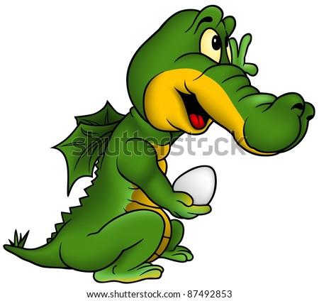 Little Dragon - colored cartoon illustration