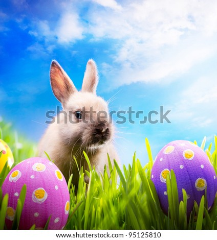 Little Easter bunny on spring green grass