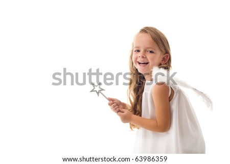 Little fairy angel with magic wand laughing - isolated with copy space