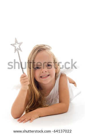 Little fairy with magic wand laying on the floor - isolated