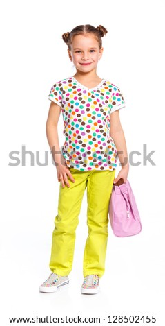 Little fashion girl with bag. Isolated white backround.