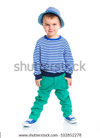Little fashionable boy in hat. Isolated on white background