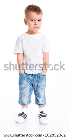 Little fashionable boy. Isolated on white background