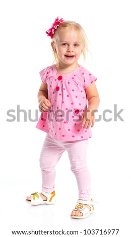 Little fashionable girl. Isolated on white background