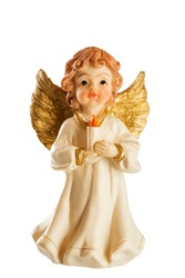 Little figure of a Christmas angel with candle isolated on white background