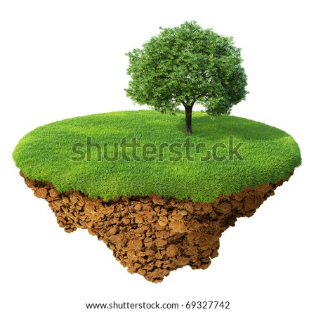Little fine island / planet. A piece of land in the air. Lawn with a tree. Detailed ground in the base. Concept of success and happiness, idyllic ecological lifestyle.