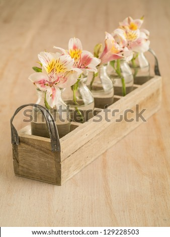 Little Flowers In Small Vases In A Wooden Box At A Wedding Ez Canvas