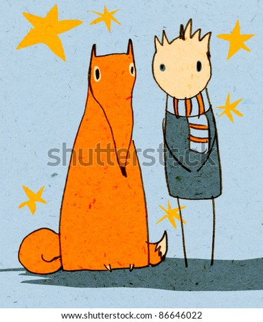 little fox and little boy