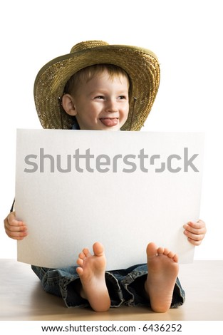 Little fun boy with a white sheet of a paper