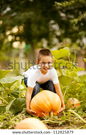 little funny boy with pumpkin