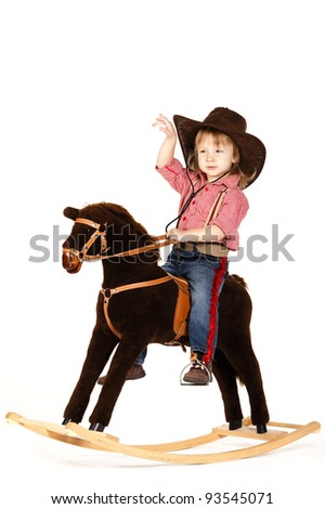 little funny cowgirl riding horse