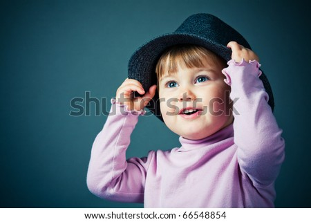 little funny girl in hat
