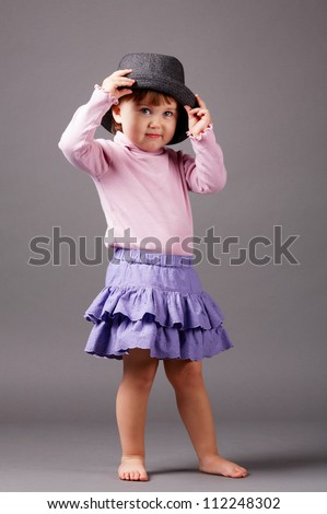 little funny girl with hat