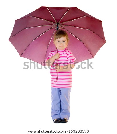 Little funny girl with umbrella isolated