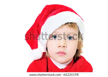 little funny Santa girl on over the  white background