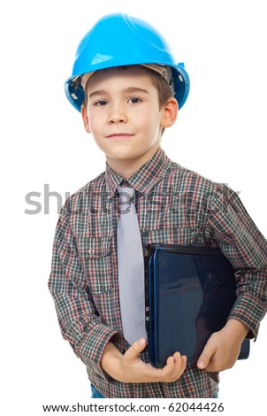 Little future architect with helmet holding notebook isolated on white background