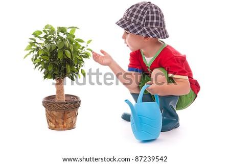 Little gardener boy on white