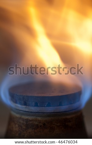 little gas ring with fire burining