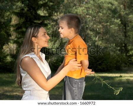 little gentleman surprising his mother