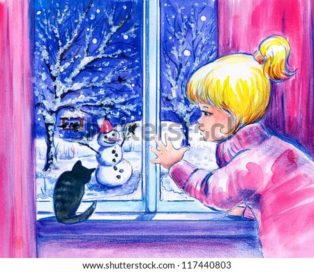 Little girl and her cat looking at the snow and snowman in garden.Picture I have created with watercolors.