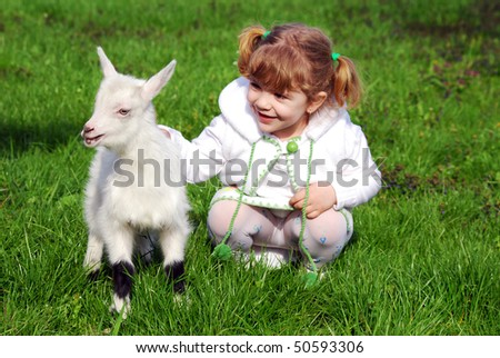 little girl and pet kid