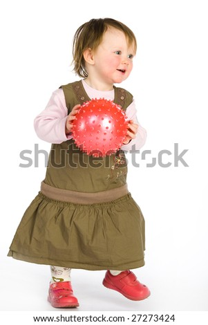 Little girl and pink ball on white