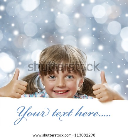 little girl and white board with empty space - christmas background