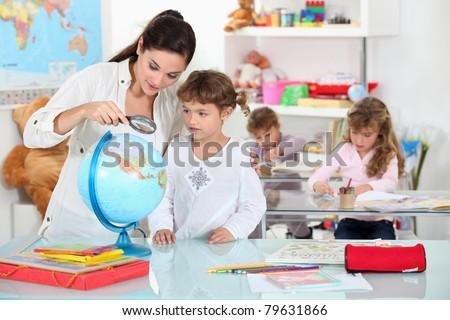 little girl at  nursery school