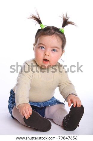 Little girl baby sitting on the floor isolated on white