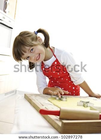 little girl baking - stock photo