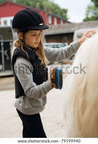 Little girl cleaning her pony