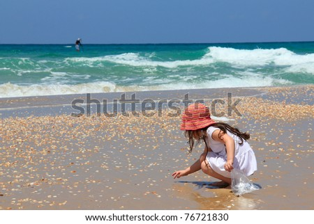 little girl collects shells on the beach